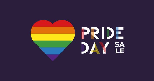 Pride Day Sale with Rainbow Heart Facebook AD Design Template
