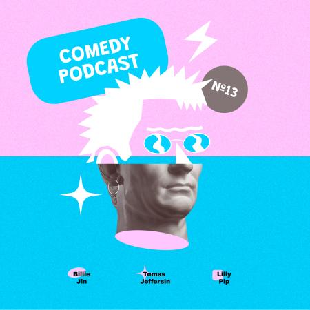 Modèle de visuel Comedy Podcast Announcement with Funny Statue - Podcast Cover
