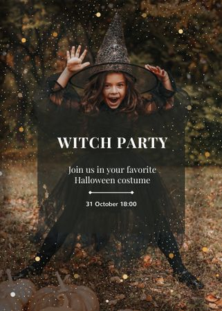 Halloween Party Announcement with Cute Girl in Witch Costume Invitation – шаблон для дизайна