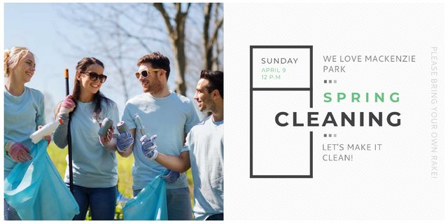 Ecological Event with Volunteers Collecting Garbage Twitterデザインテンプレート