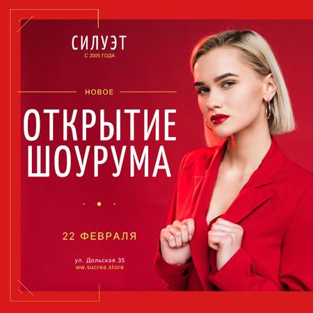 Showroom Opening Announcement Woman in Red Suit Instagram – шаблон для дизайна