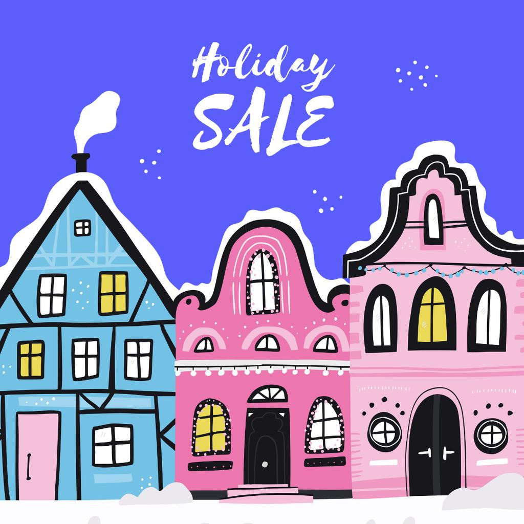 Holiday Sale with Winter Town Instagram Design Template