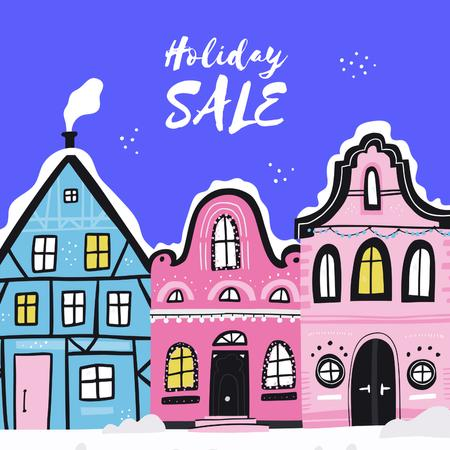 Holiday Sale with Winter Town Instagram Tasarım Şablonu
