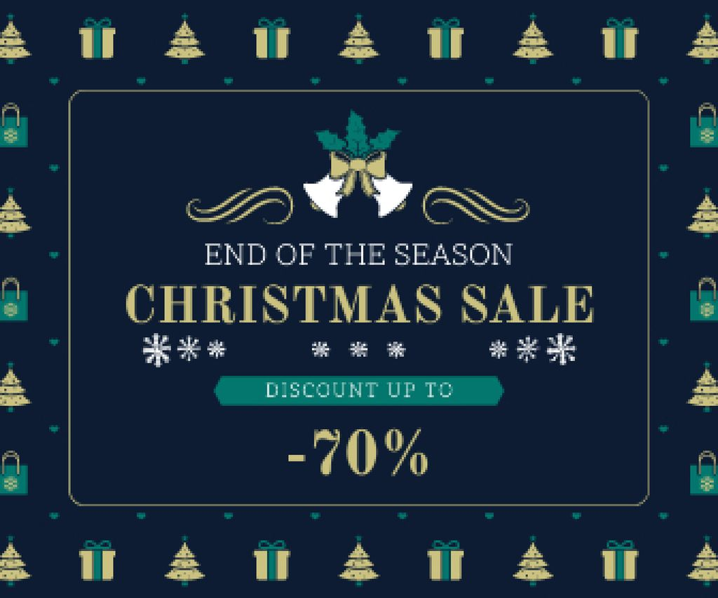 Christmas Sale Announcement Frame with Trees and Gifts — Crear un diseño