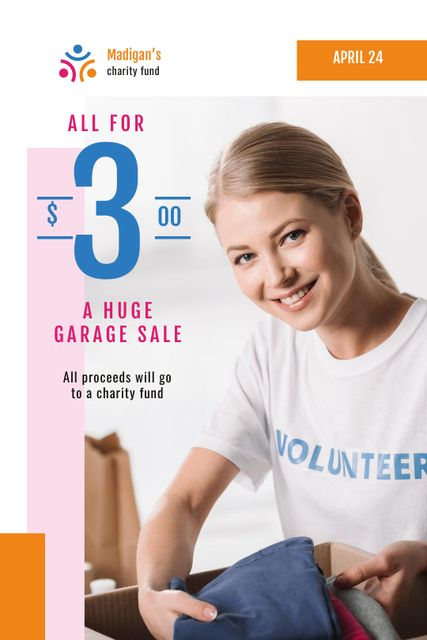 Platilla de diseño Charity Sale Announcement with Volunteer and Clothes Tumblr