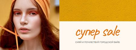 Fashion Sale stylish Woman in Orange Facebook cover – шаблон для дизайна