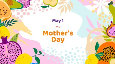 Mother's Day Greeting with Fruits Illustration FB event cover – шаблон для дизайну