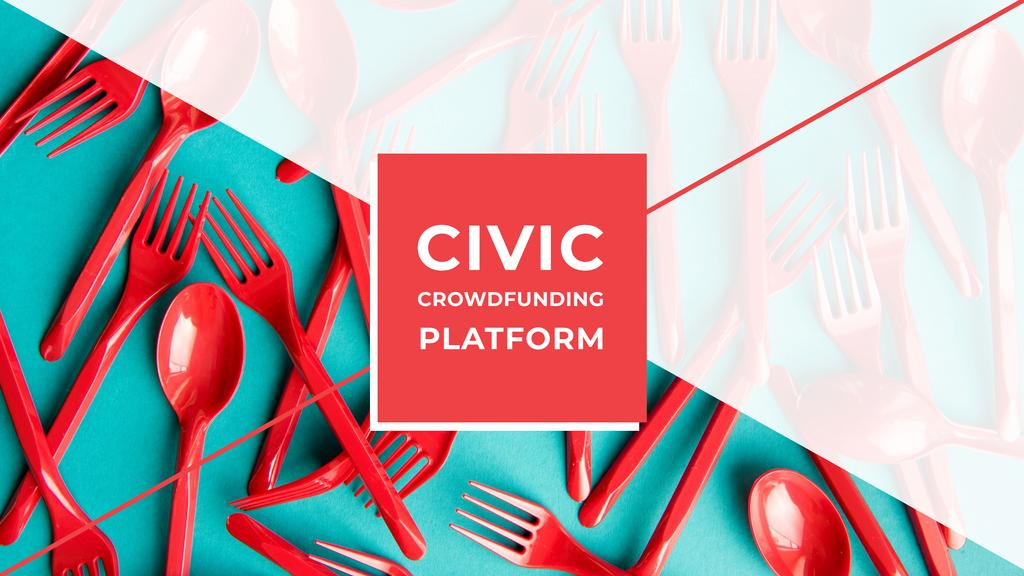 Crowdfunding Platform with Red Plastic Tableware Youtube Design Template