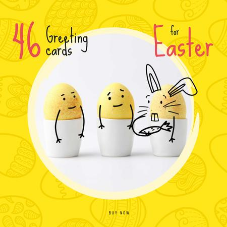 Greeting Cards Offer with cute Easter Eggs Animated Postデザインテンプレート