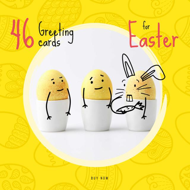 Plantilla de diseño de Greeting Cards Offer with cute Easter Eggs Animated Post