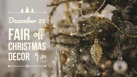 Ontwerpsjabloon van FB event cover van Christmas Fair Announcement with Festive Tree