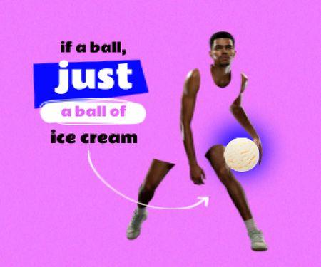 Athlete holding Ice Cream Ball Medium Rectangle Modelo de Design