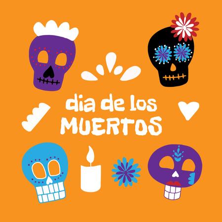 Dia de los Muertos Holiday with Skulls Animated Post – шаблон для дизайну