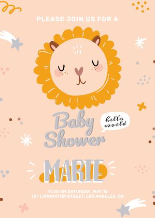 Ontwerpsjabloon van Invitation van Baby Shower party with cute animal