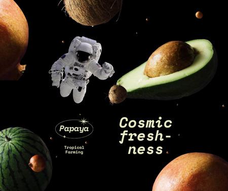 Funny Farm Ad with Astronaut flying between Fruits Facebook – шаблон для дизайна