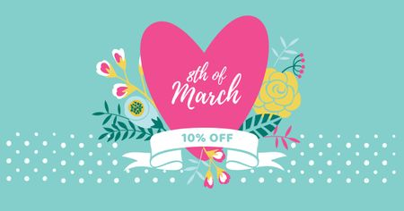 March 8 Discount Offer with Pink Heart Facebook ADデザインテンプレート