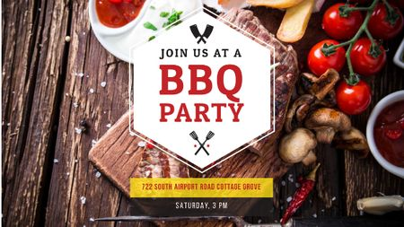 BBQ Party Invitation with Grilled Steak Title Tasarım Şablonu