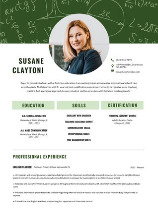 Template di design English Teacher professional skills and experience Resume