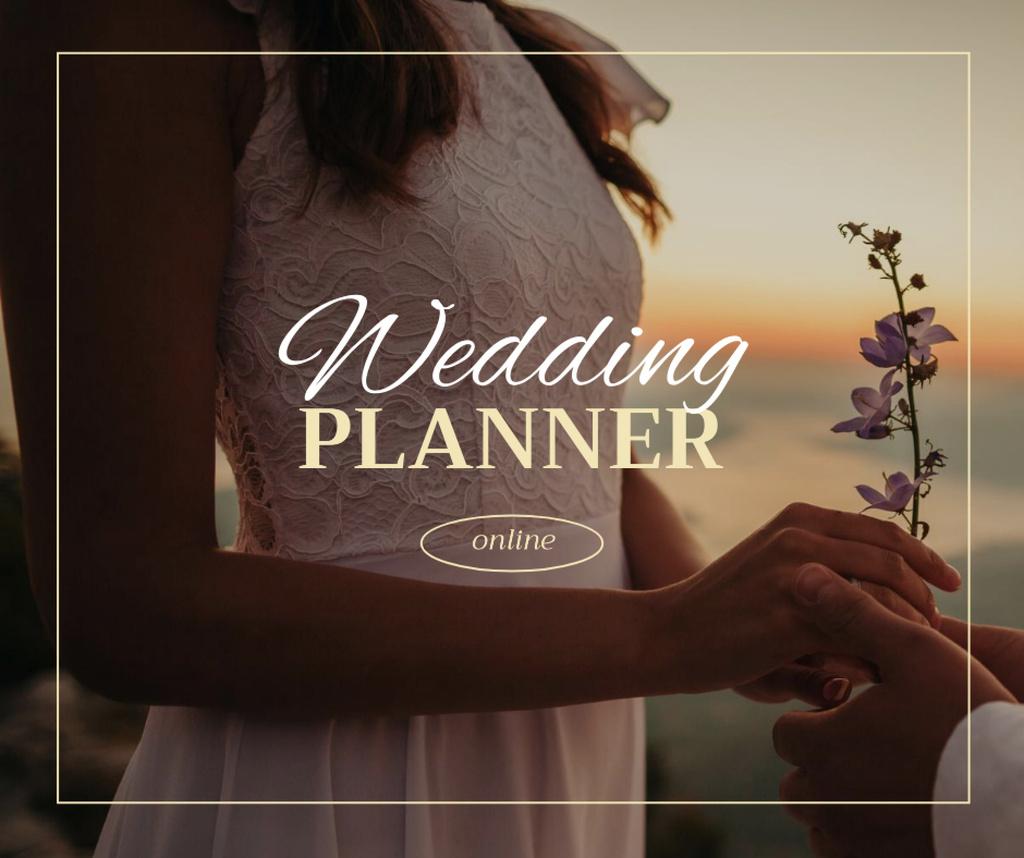 Wedding Planner Ad with Tender Bride holding Flower Facebook Modelo de Design