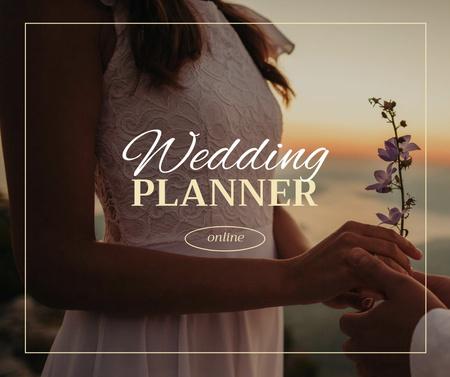 Wedding Planner Ad with Tender Bride holding Flower Facebook – шаблон для дизайну