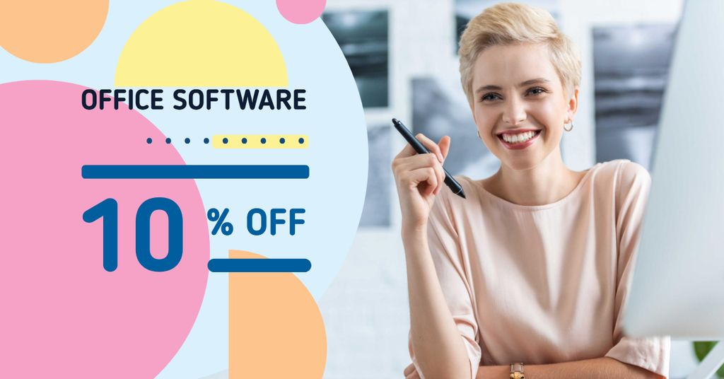 Office Software Offer with Smiling Businesswoman — Modelo de projeto