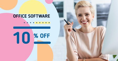 Office Software Offer with Smiling Businesswoman Facebook AD – шаблон для дизайна