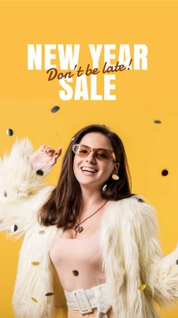 Template di design New Year Sale Announcement with Woman in Bright Outfit Instagram Story