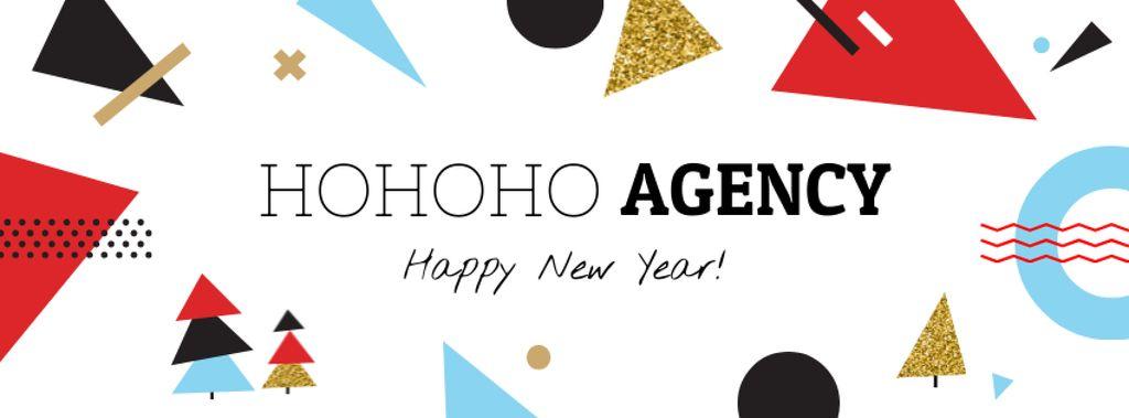 Ontwerpsjabloon van Facebook cover van Happy New Year greeting