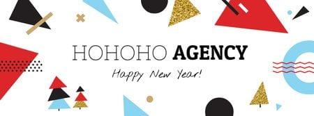 Happy New Year greeting Facebook cover Modelo de Design