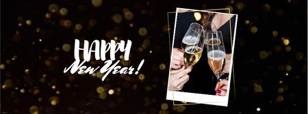 New Year Greeting with Champagne Facebook coverデザインテンプレート