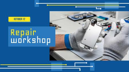 Repair Workshop Announcement with Technician FB event cover Design Template