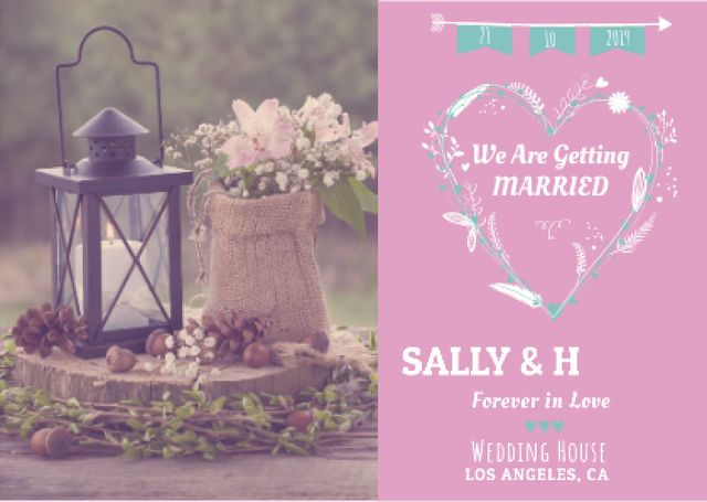 Plantilla de diseño de Wedding invitation with Flowers Card