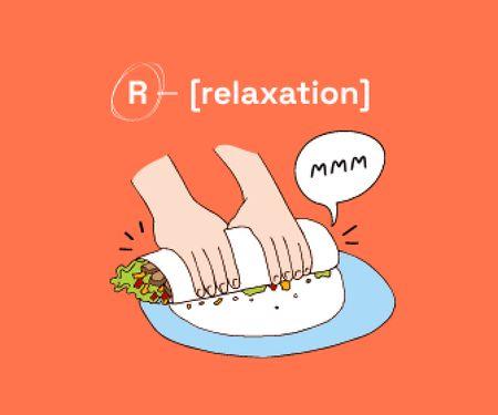 Funny Illustration of making Shawarma Large Rectangle Modelo de Design