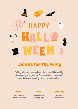 Halloween Party Announcement with Holiday Attributes Invitation – шаблон для дизайна