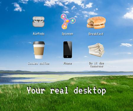 Desktop with everyday objects icons Facebook – шаблон для дизайна