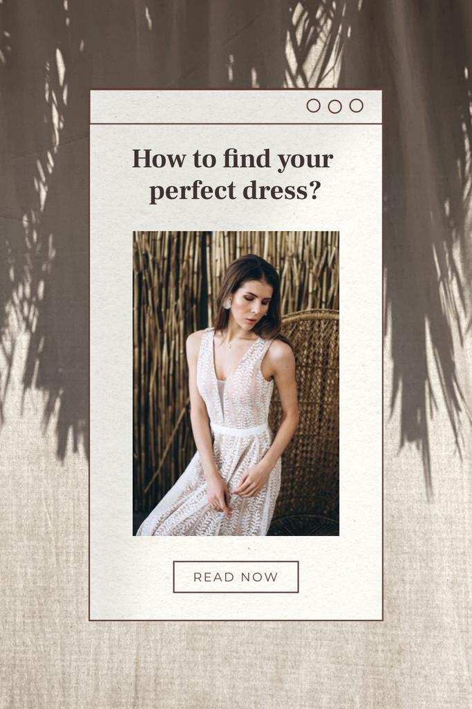Wedding Dresses Ad with Beautiful Bride Pinterestデザインテンプレート