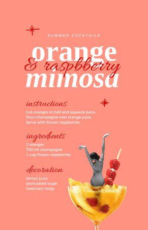 Ontwerpsjabloon van Recipe Card van Orange and Raspberry Summer Cocktail