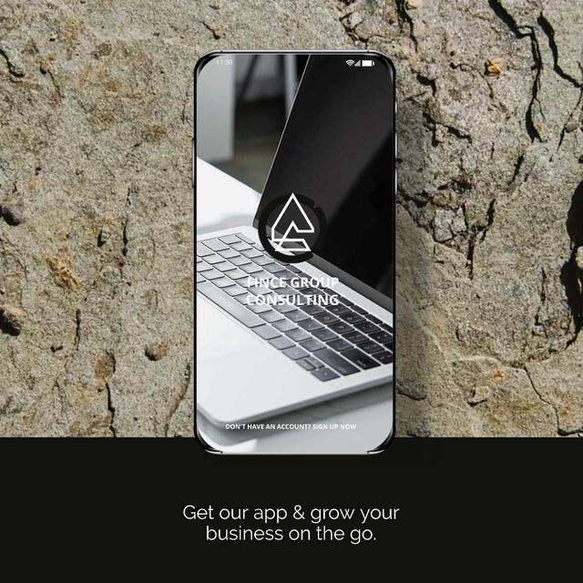 Ontwerpsjabloon van Animated Post van Business App Ad with Smartphone and Laptop