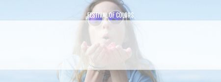 Indian Holi Festival Celebration Girl Blowing Paint Facebook Video cover Design Template