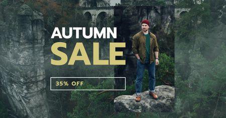 Outdoor Clothes Ad handsome Man on Cliff Facebook AD – шаблон для дизайну