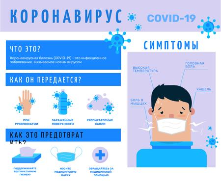 Covid-19 prevention and symptoms with Ill Man Facebook – шаблон для дизайна