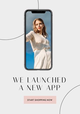 Designvorlage Fashion App with Stylish Woman on screen für Poster