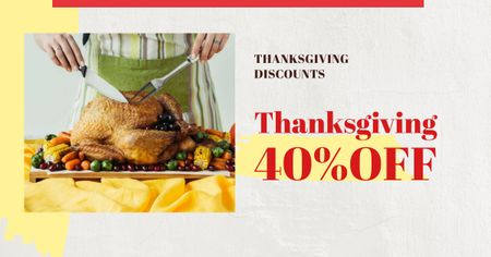 Ontwerpsjabloon van Facebook AD van Thanksgiving Offer with Chef cutting turkey