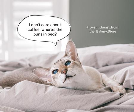 Plantilla de diseño de Funny Bakery Promotion with Cute Cat in Bed Facebook
