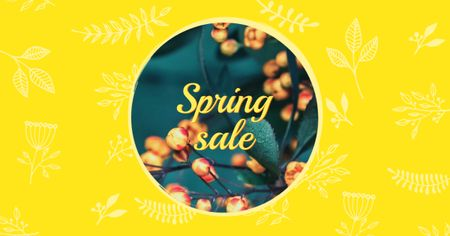 Spring Sale on Floral Pattern Facebook AD Tasarım Şablonu
