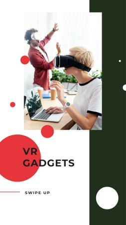 Ontwerpsjabloon van Instagram Story van VR Gadgets Offer with People in Glasses