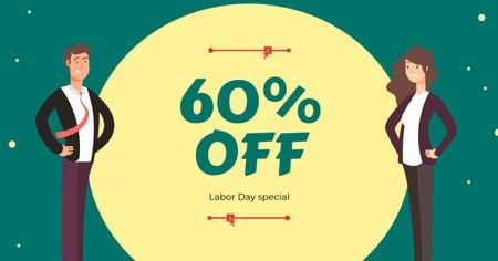 Labor Day Offer with Businesspeople Facebook AD Modelo de Design