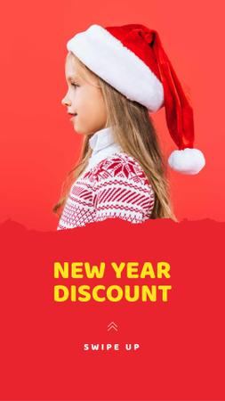 New Year Discount Offer with Cute Little Girl Instagram Story Modelo de Design