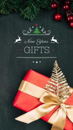 Ontwerpsjabloon van Instagram Story van New Year Gifts Offer with Festive Decorations