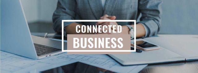 Businessman at Working Table with Laptop Facebook cover Tasarım Şablonu